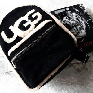 UGG sheepskin black cream backpack handbag